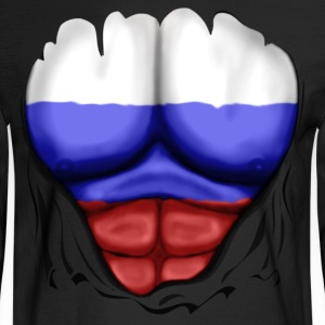 Russia Flag Ripped Muscles, six pack, chest t-shirt - Men's Long Sleeve T-Shirt