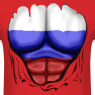 Design ~ Russia Flag Ripped Muscles, six pack, chest t-shirt