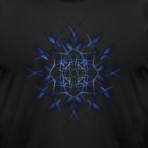 Barbed Blue Fractal Geometry Art T-Shirts - Men's T-Shirt by American Apparel