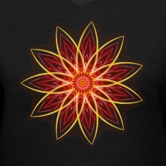 """Fractal Flower Red"" Geometric Art Women's T-Shirt"
