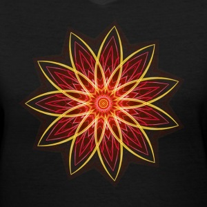 """Fractal Flower Red"" Geometric Art Women's T-Shirt - Women's V-Neck T-Shirt"