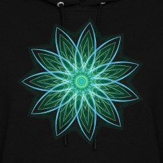 """Fractal Flower Green"" Geometric Art Hoodies"