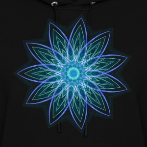 Fractal Flower Blue Geometric Art Hoodies - Women's Hoodie