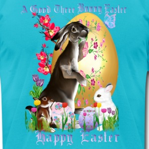 A Good Three Bunny Easter (lettered) - Men's T-Shirt by American Apparel