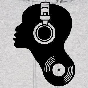 dj music turntable head woman sexy headphones electronic techno hip hop club dance dsicjockey record vinyl nightlife lips  Hoodies - Men's Hoodie