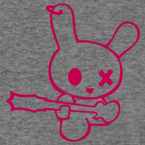 Rockin bunny rockstar music bunnies rabbit hare cony leveret bimbo easter guitar bass sound earring Long Sleeve Shirts - Women's Wideneck Sweatshirt