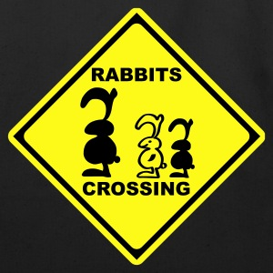 rabbits crossing sign traffic bunny rabbit bunnies hare cony leveret bimbo Bags  - Eco-Friendly Cotton Tote