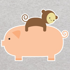 Baby Monkey Riding Backwards on a Pig - Kids' Hoodie