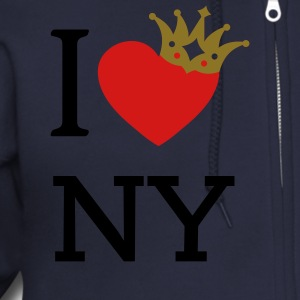 I LOVE ... with crown askew + your text | men's zi - Men's Zip Hoodie