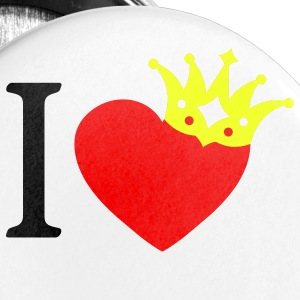 I LOVE ... with crown askew + your text - Large Buttons