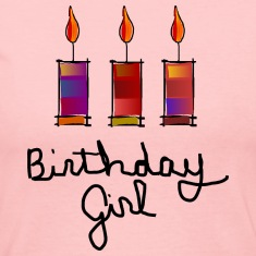 Birthday Girl With 3 Multi-Color Candles--DIGITAL DIRECT PRINT Long Sleeve Shirts
