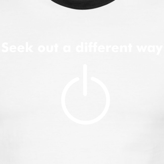"""""""Seek out a Different Way"""" Red/White Ringer T"""