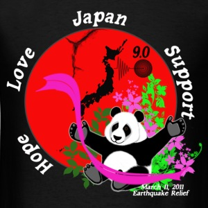 Japan Earthquake Relief Support 3D Panda BG T-Shirts - Men's T-Shirt
