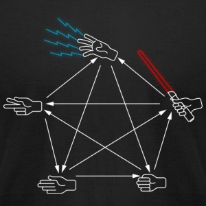 rock paper scissors lizard spock tee shirt  - Men's T-Shirt by American Apparel
