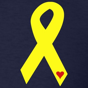 Yellow Ribbon with Heart - Military - Men's T-Shirt