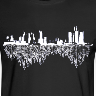 Design ~ Detroit Skyline With Roots Men's Long Sleeve Tee