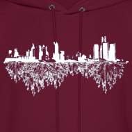 Design ~ Detroit Skyline With Roots Men's Hooded Sweatshirt