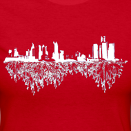 Design ~ Detroit Skyline With Roots Women's Long Sleeve Jersey Tee