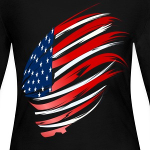 Sweeping American Flag - Women's Long Sleeve Jersey T-Shirt