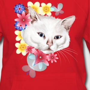 Curious White Garden Kitty Face - Women's Hoodie