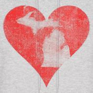 Design ~ Mi Distressed Heart Men's Hooded Sweatshirt