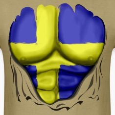 Sweden Flag Ripped Muscles, six pack, chest t-shirt