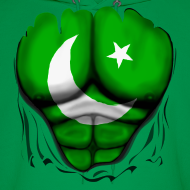 Design ~ Pakistan Flag Ripped Muscles, six pack, chest t-shirt