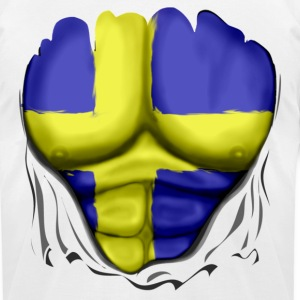 Sweden Flag Ripped Muscles, six pack, chest t-shirt - Men's T-Shirt by American Apparel