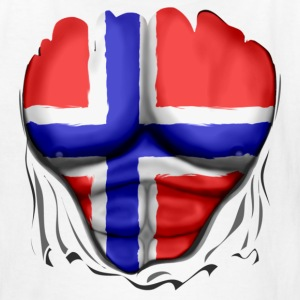 Norway Flag Ripped Muscles, six pack, chest t-shirt - Kids' T-Shirt