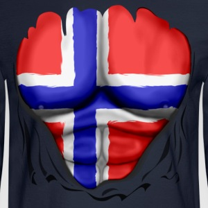 Norway Flag Ripped Muscles, six pack, chest t-shirt - Men's Long Sleeve T-Shirt