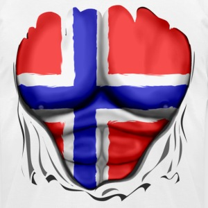 Norway Flag Ripped Muscles, six pack, chest t-shirt - Men's T-Shirt by American Apparel