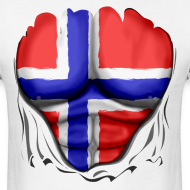 Design ~ Norway Flag Ripped Muscles, six pack, chest t-shirt
