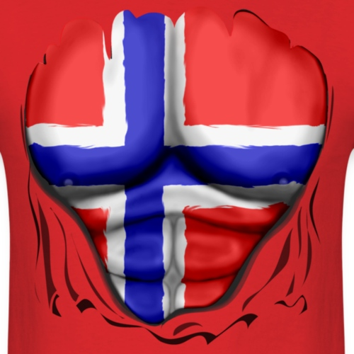 Norway Flag Ripped Muscles, six pack, chest t-shir