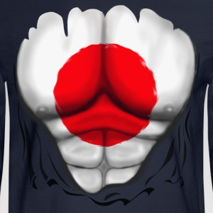 Japan Flag Ripped Muscles, six pack, chest t-shirt - Men's Long Sleeve T-Shirt