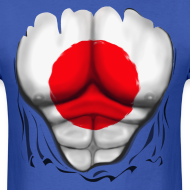 Design ~ Japan Flag Ripped Muscles, six pack, chest t-shirt