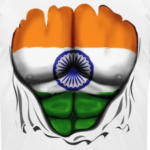 India Flag Ripped Muscles, six pack, chest t-shirt - Men's T-Shirt by American Apparel