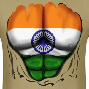 India Flag Ripped Muscles, six pack, chest t-shirt - Men's T-Shirt