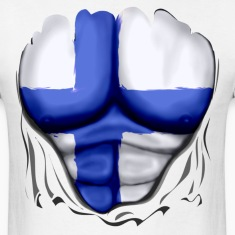 Finland Flag Ripped Muscles, six pack, chest t-shirt