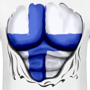 Finland Flag Ripped Muscles, six pack, chest t-shirt - Men's T-Shirt