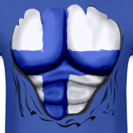 Design ~ Finland Flag Ripped Muscles, six pack, chest t-shirt