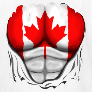 Canada Flag Ripped Muscles, six pack, chest t-shirt - Kids' T-Shirt