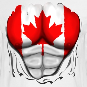 Canada Flag Ripped Muscles, six pack, chest t-shirt - Men's Long Sleeve T-Shirt