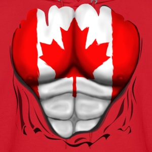 Canada Flag Ripped Muscles, six pack, chest t-shirt - Men's Hoodie