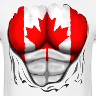 Design ~ Canada Flag Ripped Muscles, six pack, chest t-shirt