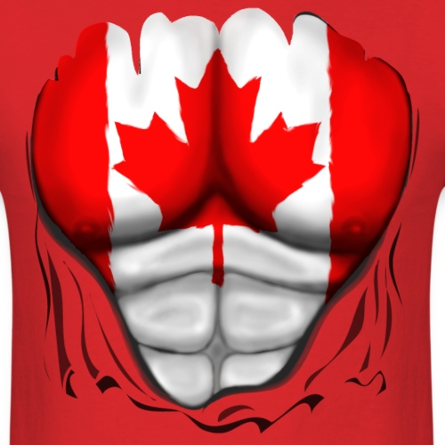 Canada Flag Ripped Muscles, six pack, chest t-shir