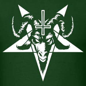 Satanic Goat Head with Pentagram (inverted) T-Shirts - Men's T-Shirt