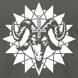 Satanic Goat Head with Chaos Star (inverted) T-Shirts - Men's T-Shirt by American Apparel