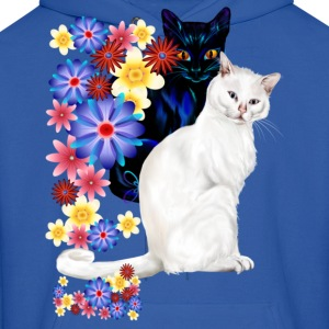 Black and White Garden Kitties - Men's Hoodie