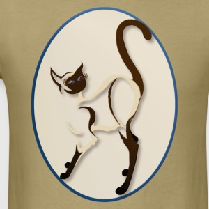 Standing Siamese Cat  Oval - Men's T-Shirt