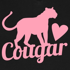cougar in pink with beautiful panther T-Shirts - Men's V-Neck T-Shirt by Canvas